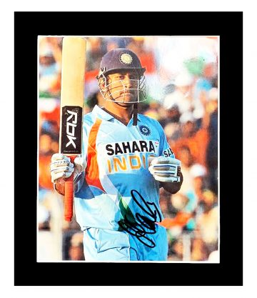 Signed MS Dhoni Photo Display